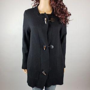 Michael Kors Black Sweater Merino Wool Coat size L